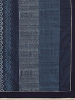 Load image into Gallery viewer, Navy Blue Hand Block Print Cotton Saree