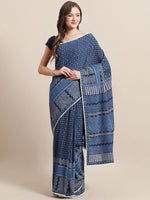 Load image into Gallery viewer, Navy Blue Handblock Printed Cotton Saree