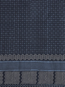 Navy Blue Handblock Printed Cotton Saree
