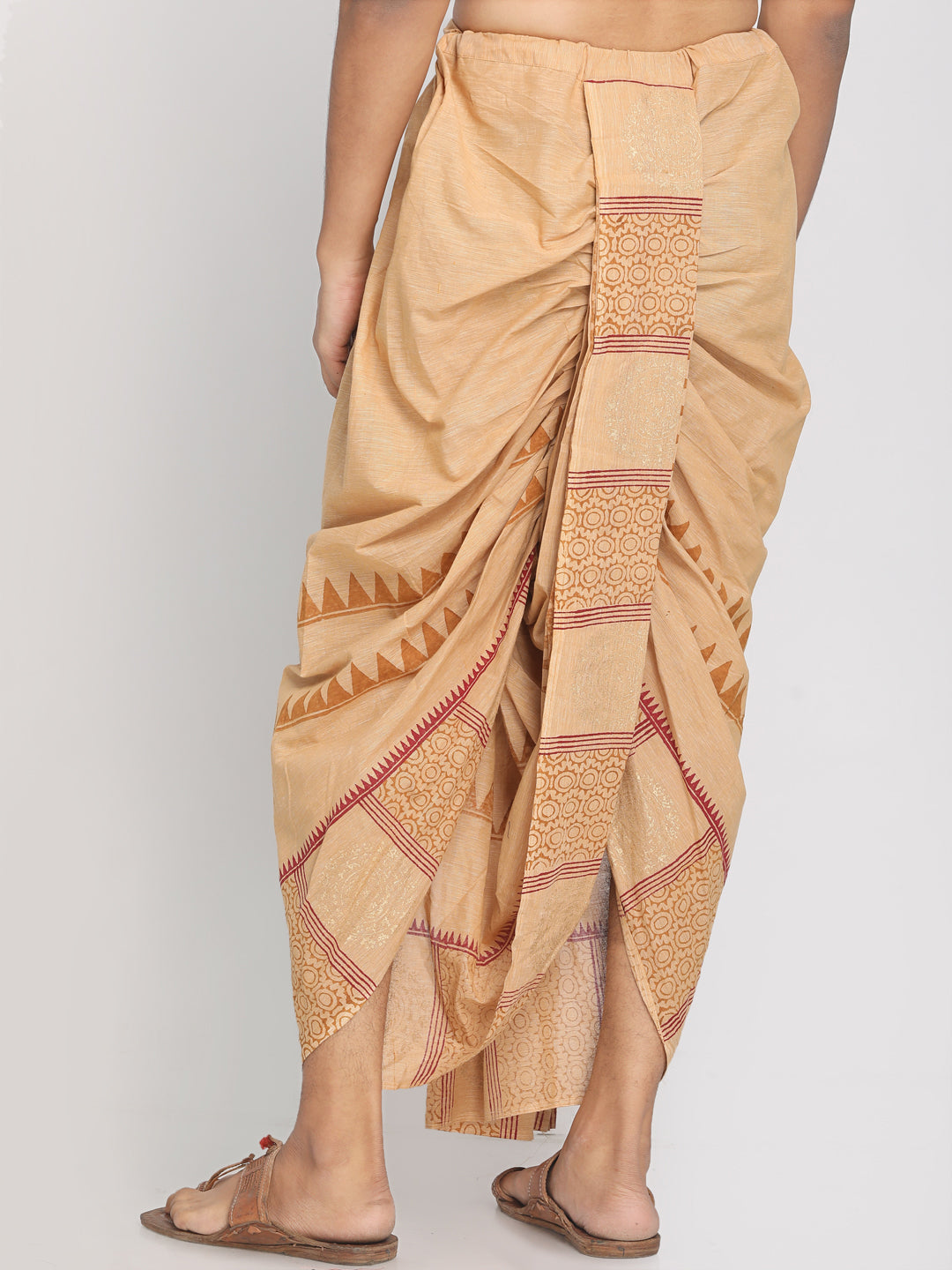 100% Cotton Beige Hand Block Printed Stiched Dhoti