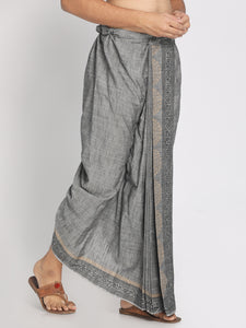 100% Cotton Grey Hand Block Printed Stiched Dhoti