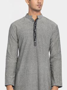 Pure Cotton Grey Hand Embroidered Long Kurta with Mask