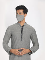 Load image into Gallery viewer, Pure Cotton Grey Hand Embroidered Long Kurta with Mask