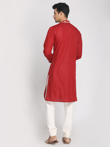 Maroon Cotton Linen Zari Emboroidered Long Kurta