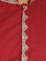 Load image into Gallery viewer, Maroon Cotton Linen Zari Emboroidered Long Kurta