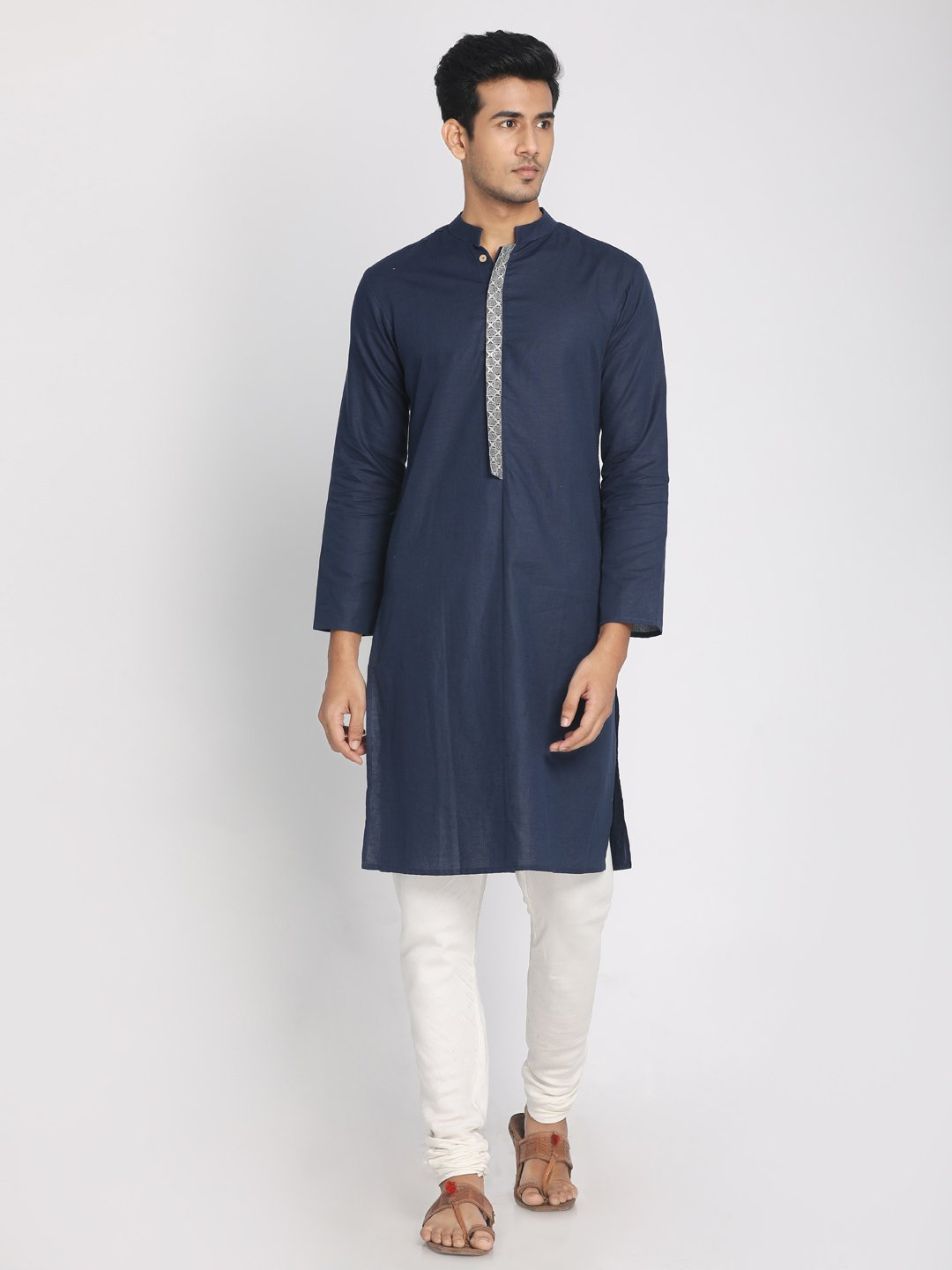 Cotton Linen Navy Blue Zari Embroidered Long Kurta with Mask
