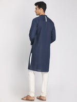 Load image into Gallery viewer, Cotton Linen Navy Blue Zari Embroidered Long Kurta with Mask