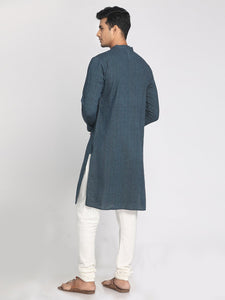 Handloom Cotton Blue Straight Long Kurta
