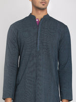 Load image into Gallery viewer, Handloom Cotton Blue Straight Long Kurta