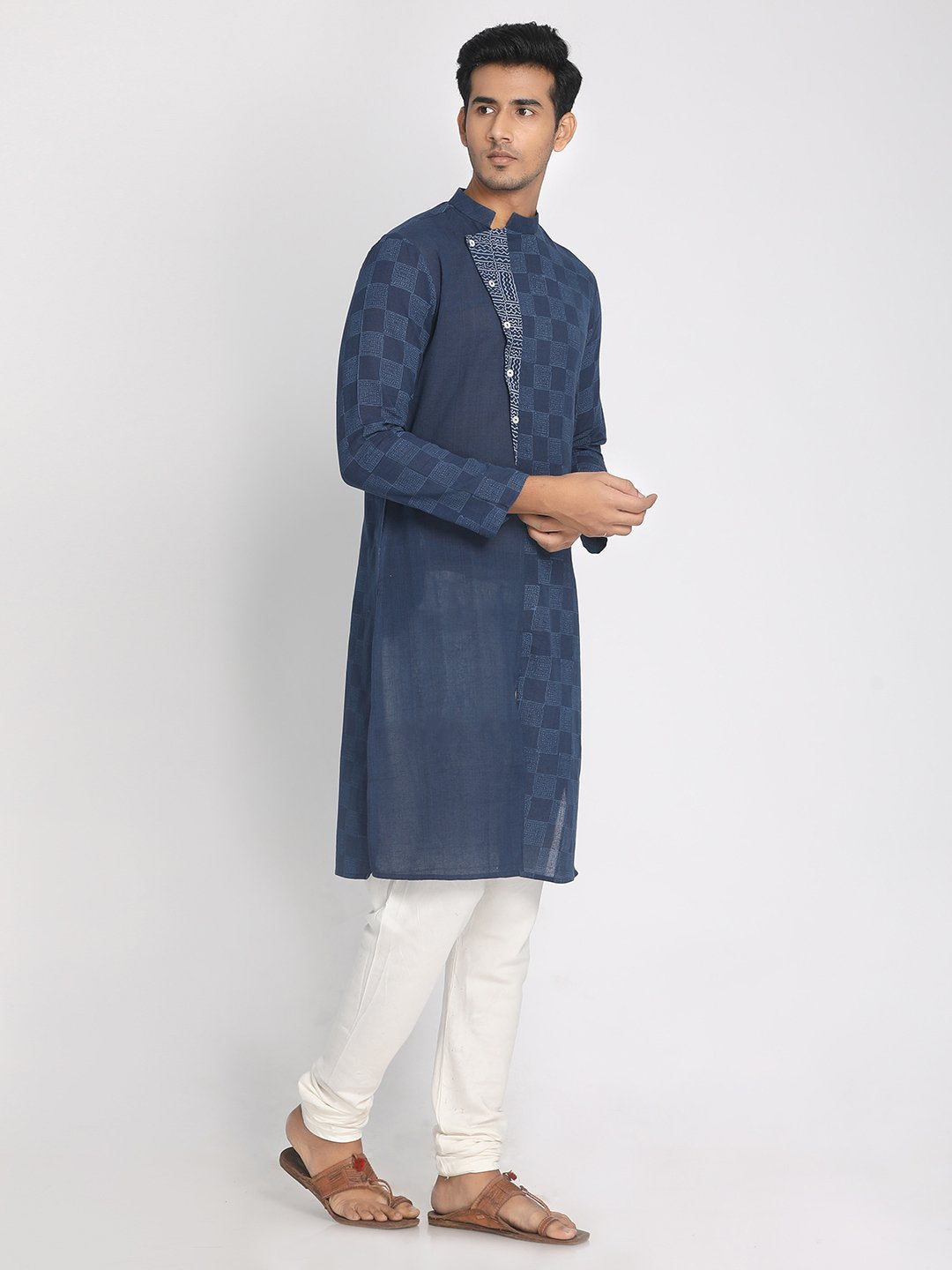 100% Cotton Hand Block Printed Indigo Long Kurta