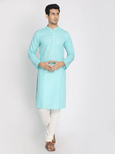 Cotton Linen Solid Sky Blue Long Kurta