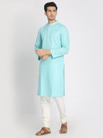 Load image into Gallery viewer, Cotton Linen Solid Sky Blue Long Kurta