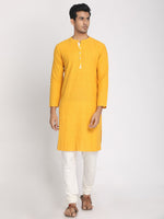 Load image into Gallery viewer, Yellow Cotton Khadi Straight Long Kurta