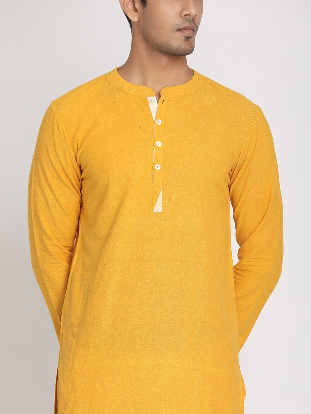 Yellow Cotton Khadi Straight Long Kurta