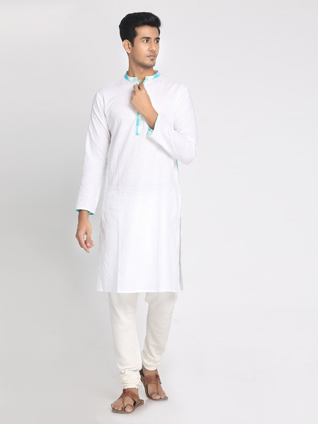 Cotton Linen White Solid Staright Long Kurta