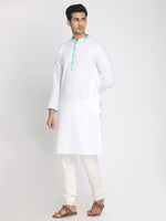 Load image into Gallery viewer, Cotton Linen White Solid Staright Long Kurta