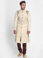 Load image into Gallery viewer, Beige Ketiya Matka Silk Sherwani with Embroidered
