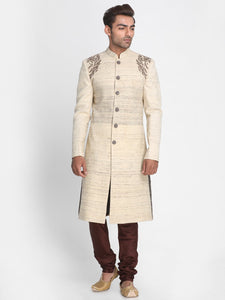Beige Ketiya Matka Silk Sherwani with Embroidered