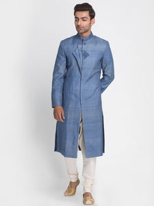 Blue Tussar Silk Sherwani with Embroidered
