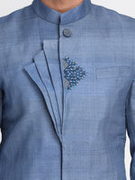 Load image into Gallery viewer, Blue Tussar Silk Sherwani with Embroidered