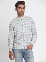 Load image into Gallery viewer, Men White & Grey Slim Fit Printed Casual Shirt
