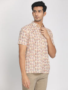 100% Cotton Half Sleeves Shirt Beige