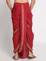 Load image into Gallery viewer, Maroon Pure Cotton ethnic pattern Handblock print Dhoti