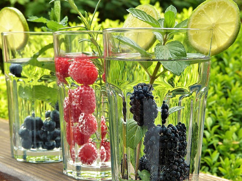 Flavoured water from a garden drinks cooler