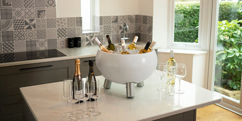 free standing wine cooler on kitchen counter