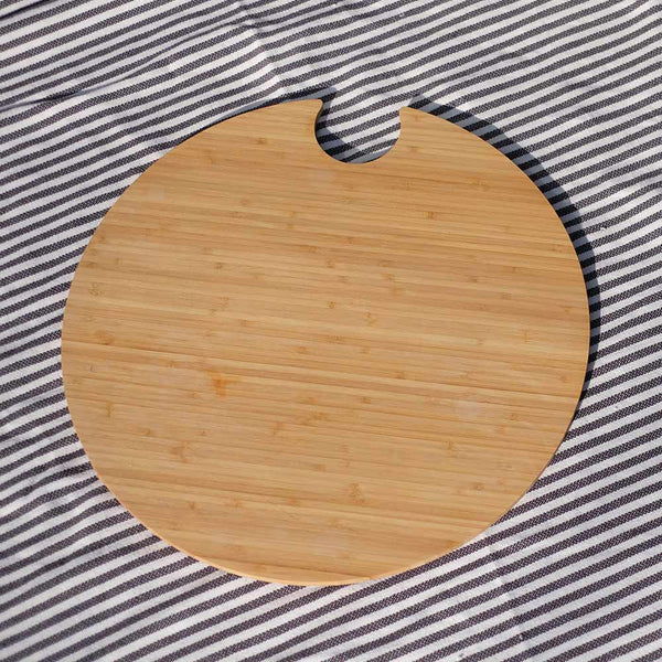 circular bamboo chopping board for outdoor drinks cooler by Outside Gang
