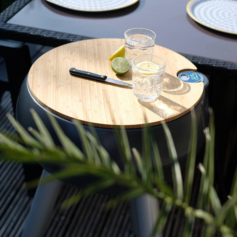 garden drinks cooler with bamboo chopping board