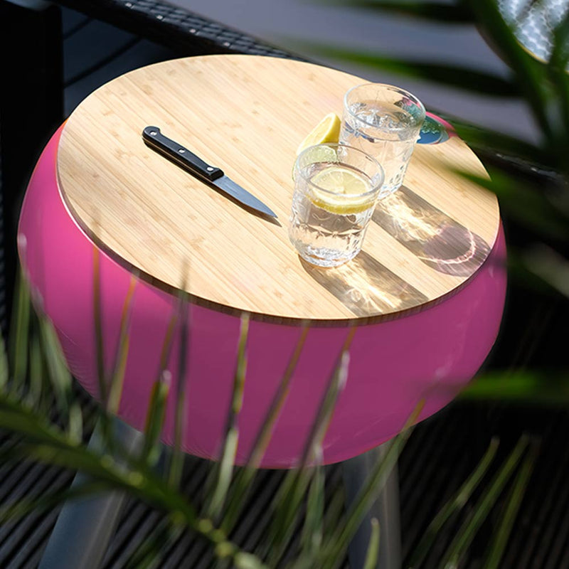 pink outdoor drinks cooler with bamboo chopping board