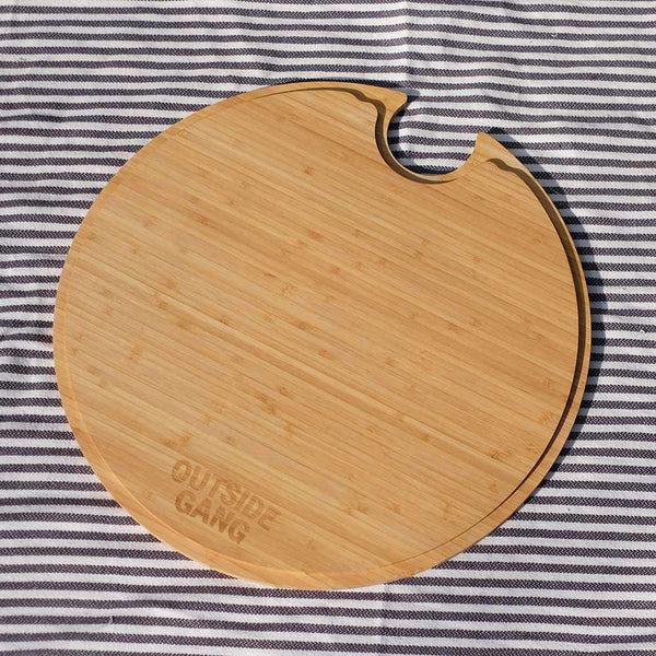 underside of bamboo chopping board, an accessory for outdoor drinks cooler by Outside Gang