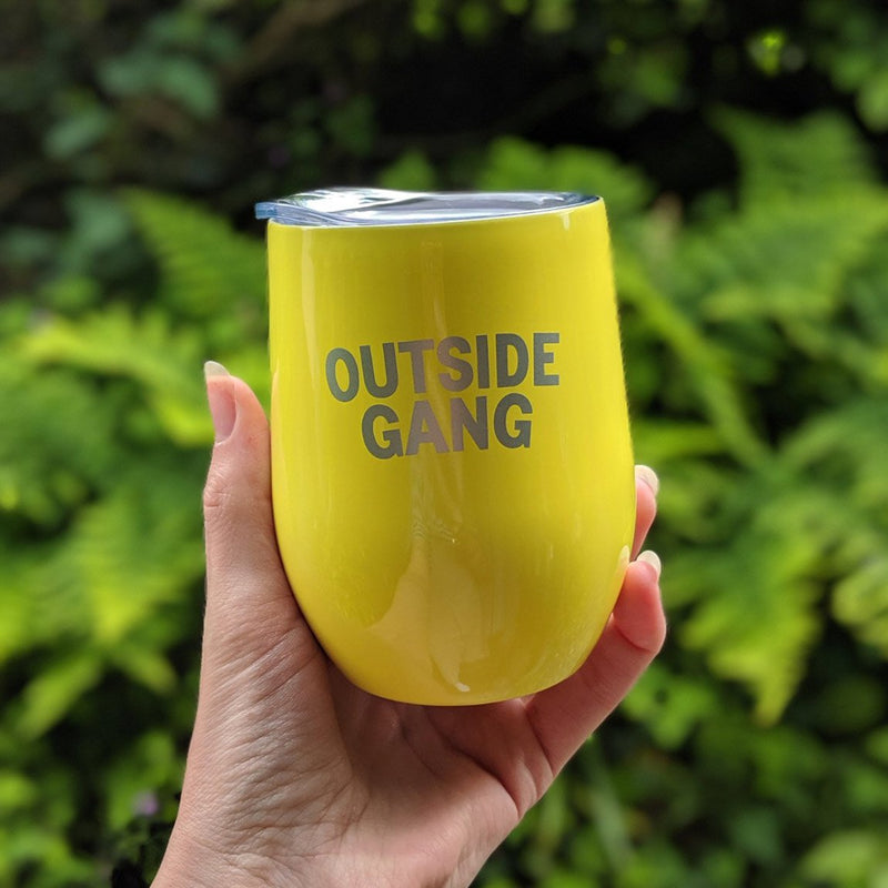 yellow stainless steel cup with lid to accompany our drinks cooler for garden