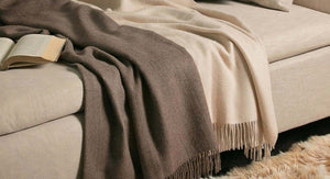 CASTELLO Home Accessories Collection of throws in Cashmere is of the finest materials. Plain, Plain and Jacquard woven with endless patters and color combinations.