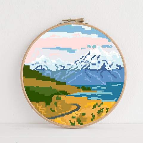 Aoraki (Mt Cook) instant download PDF cross stitch pattern
