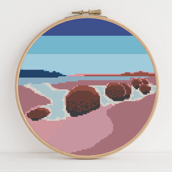 Moeraki Boulders instant download PDF cross stitch pattern