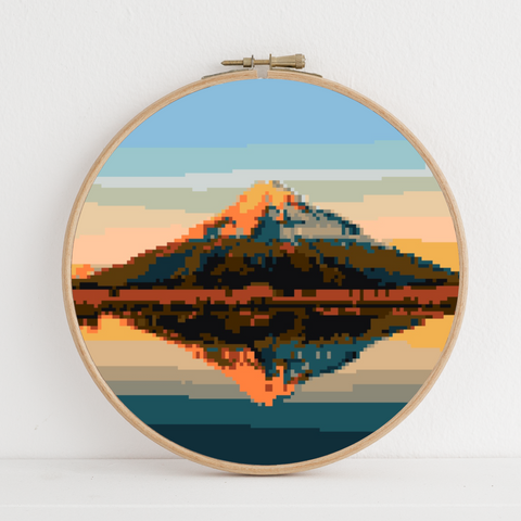 Mt Taranaki (Egmont) instant download PDF cross stitch pattern