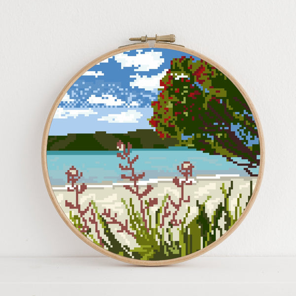 Pohutukawa at the beach instant download PDF cross stitch pattern