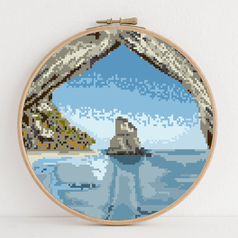 Cathedral Cove instant download PDF cross stitch pattern
