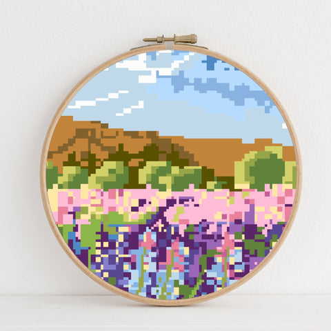 Lupins instant download PDF cross stitch pattern