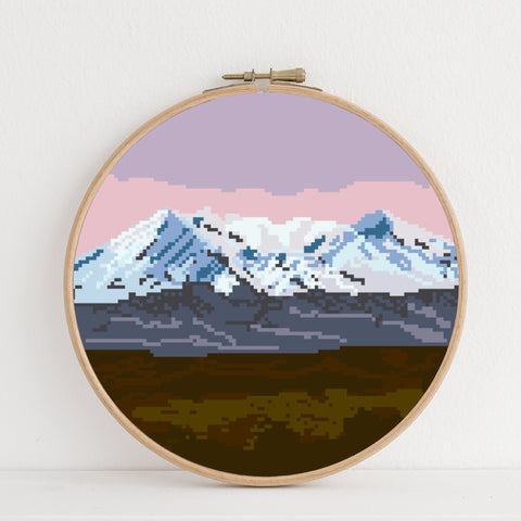 Mt Ruapehu instant download PDF cross stitch pattern