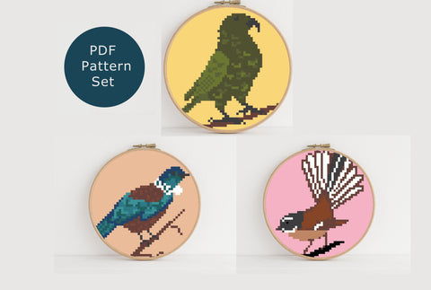 NZ Native Birds mini set instant download PDF cross stitch pattern