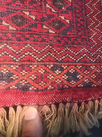 The back of the handmade carpet with knots