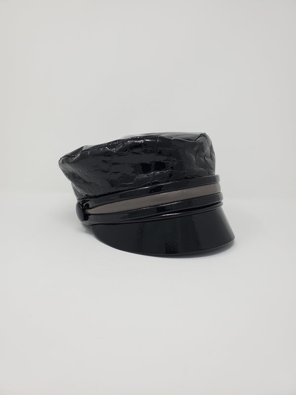 Button Black Leather Cap