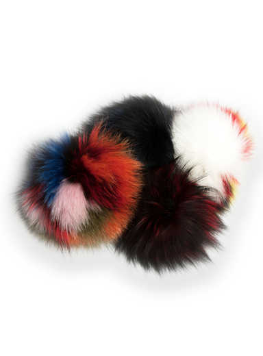 Multi Color Fox-Fur Mega Pom Pom Bag Charm
