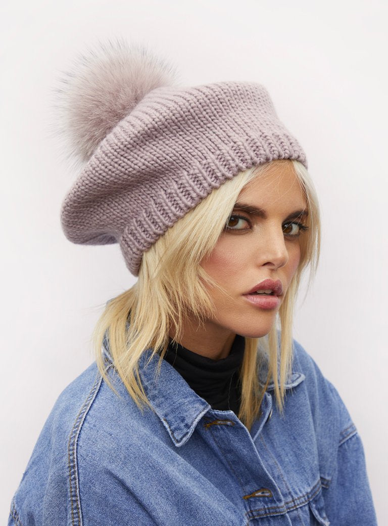 Knitted Beret Fur