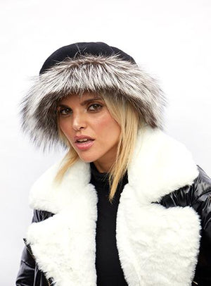 Wool Beret with Silver Fox Band