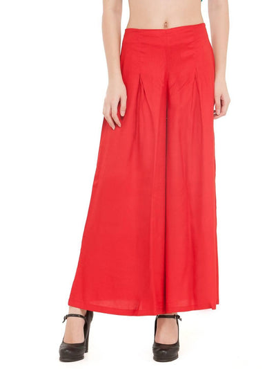 Women Solid Red Rayon Flared Palazzo - MANERAA
