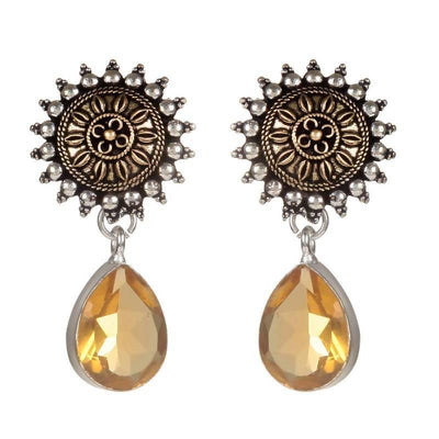 Alloy And Artificial Stones Drop Earrings Artificial Fashion Jewellery For Women Yellow Color - MANERAA